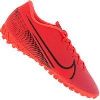 Chuteira Society Nike Mercurial Vapor 13 Academy Tf - Adulto - Coral/Preto