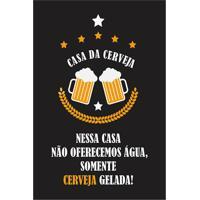 "Placa Decorativa ""Casa Da Cerveja""- Preta & Laranja-Kapos"