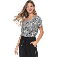 Blusa Hering Zebra Branca/Preta