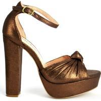 Sandália Salto Alto Dourada
