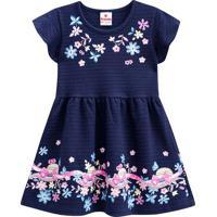 Vestido Texturizado Floral- Azul Marinho & Rosa- Pribrandili
