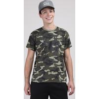 Camiseta Juvenil Homem Aranha Estampada Camuflada Manga Curta Verde Militar