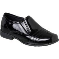 Sapato Social Infantil Ortopasso Verniz - Masculino-Preto