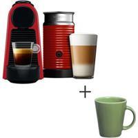 Cafeteira Nespresso Essenza Vermelho - A3Nrd30B - 220V + Canecas Basic Ceramica Com 04 Pecas Verde Salvia - Porto Brasil