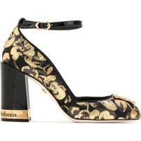 Dolce & Gabbana Sapato Jacquard Salto Bloco - Preto