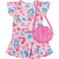 Vestido C/ Bolsa Infantil Menina Sereias Rosa - Elian