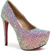 Sapato Zariff Shoes Pump Salto Fino Glitter Colorido