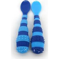 Colher Azul Com Relevo The First Years - 2 Unidades Azul