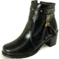 Bota Sapatofranca Ankle Boot Com Fivela Não Possui Cadarço Preto