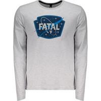 Camiseta Fatal Constellation Manga Longa Masculina - Masculino-Cinza