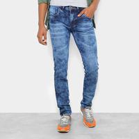 Calça Jeans Skinny Coffee Marmorizada Masculina - Masculino-Jeans