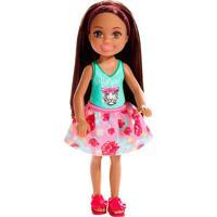 Barbie Família Chelsea Boneca Com Saia Rosa Florida - Mattel