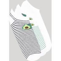 Kit De 3 Meias Femininas Cano Baixo Estampadas Abacate Branca - Único