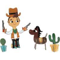 Quebra Cabeça 3D Personagens Cowboy Krooom Marrom