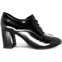 Sapato Oxford Feminino Bico Fino Salto Quadrado Preto - Preto - Feminino - Dafiti