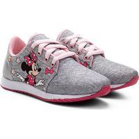 Tênis Infantil Disney Jogging Minnie Moletom Feminino - Feminino-Cinza