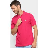 Camisa Polo Lacoste Original Fit Masculina - Masculino-Roxo+Preto