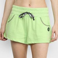 Short Moletom Colcci Fitness Feminino - Feminino-Verde Claro+Verde