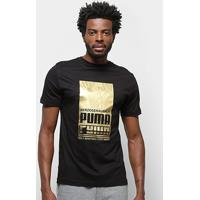 Camiseta Puma Puma Gold Graphic Masculina - Masculino-Preto