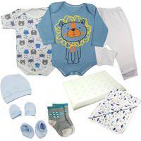 Kit Bebê 9 Pç Body Mijão Kit Touca Meia Cueiro E Travesseiro Azul