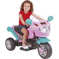 Moto Elétrica Infantil Homeplay Speed Chopper 6V Rosa E Turquesa