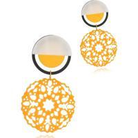 Brinco Le Diamond Mandala Baquelite Amarelo - Amarelo - Feminino - Dafiti