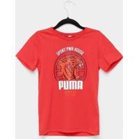 Camiseta Infantil Puma Alpha Graphic Manga Curta Masculina - Masculino-Vermelho