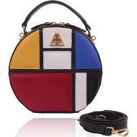 Bolsa Redonda Campezzo Couro Mondrian Artball - Kanui