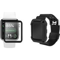 Kit Película De Nano Gel Gorila Shield + Pulseira Armor Para Apple Watch 42Mm Transparente/Preto