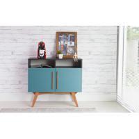 Balcão Para Sala Tipo Buffet Retrô/Moderno Preto 2 Portas Azuis Com Nicho Dolores - 90X35X79 Cm