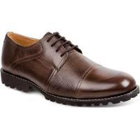 Sapato Casual Couro Derby Sandro Moscoloni Costa Masculino - Masculino-Marrom Escuro