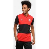 Camisa Polo Flamengo Adidas 3S Masculina - Masculino-Vermelho+Preto