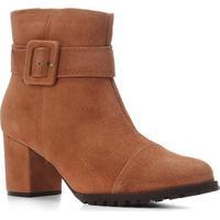Bota Couro Cano Curto Shoestock Salto Bloco Tira Fivela Feminina - Feminino-Caramelo