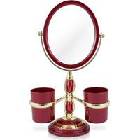 Espelho De Mesa Duplo Com Aumento 5X E Suportes Laterais Jacki Design Beauty Vinho - Kanui