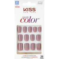 Kiss New York Unhas Postiças Salon Color Curto Cor Beautiful - Feminino-Incolor