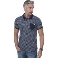 Camisa Polo Javali Bolso Poá Azul Marinho