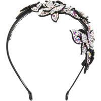 P.A.R.O.S.H. Headband Com Borboleta De Strass - Branco