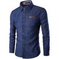 Camisa Jeans Slim Fit Forro Xadrez - Azul Escura