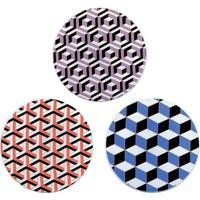 Conjunto De Pratos Decorativos Com Suporte- Laranja & Azdecor Glass