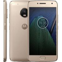 "Smartphone Motorola Moto Plus G5-Xt1683 - Gold - Tv Digital - Dual-Chip - 32Gb - 12Mp - Tela 5.2"" - Android 7.0"