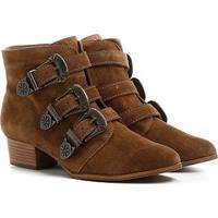 Bota Couro Shoestock Cano Curto 3 Fivelas Feminina - Feminino-Caramelo