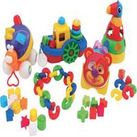 Kit Blocos Contendo 136 Peças Em Plástico - Jottplay - Tricae