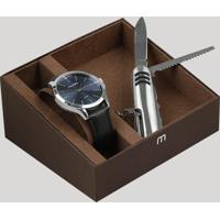 Kit De Relógio Analógico Mondaine Masculino + Canivete - 53596G0Mknh6K Marrom - Único