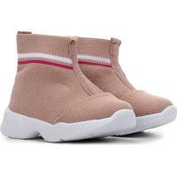 Sapato Infantil Molekinha Botinha Tecido Feminino - Feminino-Branco+Rosa