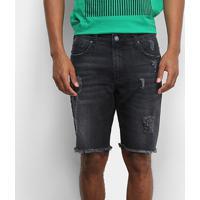 Bermuda Jeans Colcci Davi Puídos Masculina - Masculino-Preto
