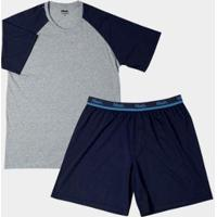 Conjunto Pijama Mash Curto Algodão Masculino - Masculino-Azul