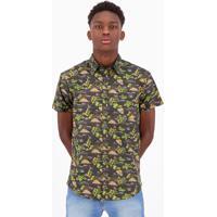Camisa Hd Tropical Estampada Preta