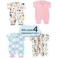 4 Macacão Bebê Menina Verão P Ao 3 Enxoval Recém Nascido Multicolorido