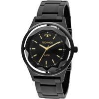 Relógio Feminino Technos Crystal 2035Mib/4P Pulseira Aço Preta - Feminino-Preto
