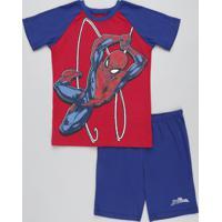 Pijama Infantil Homem Aranha Raglan Manga Curta Vermelho